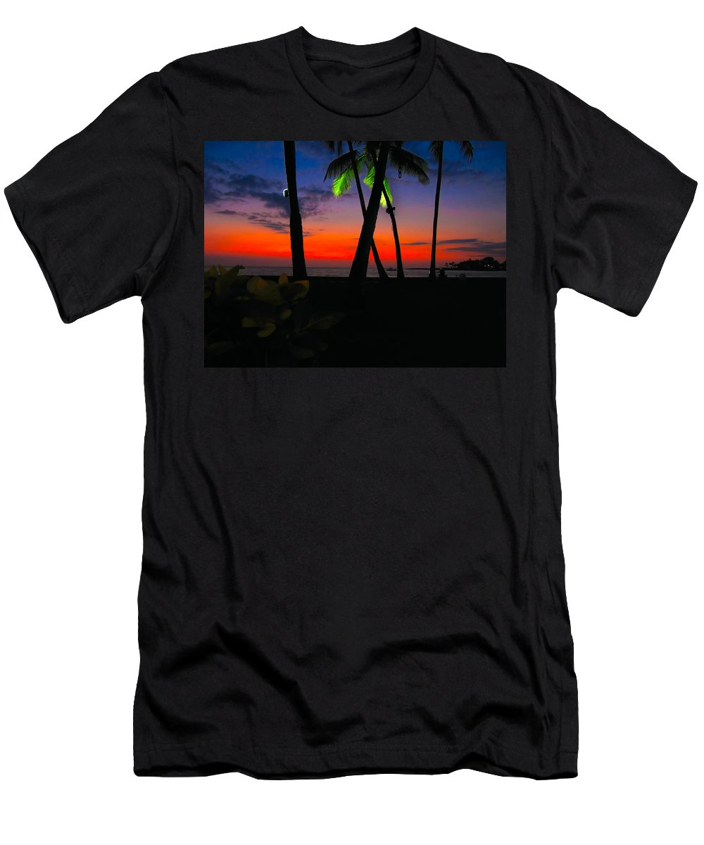 Sunset Men's T-Shirt (Athletic Fit) featuring the photograph Sunset At The Big Island Of Hawaii by James O Thompson