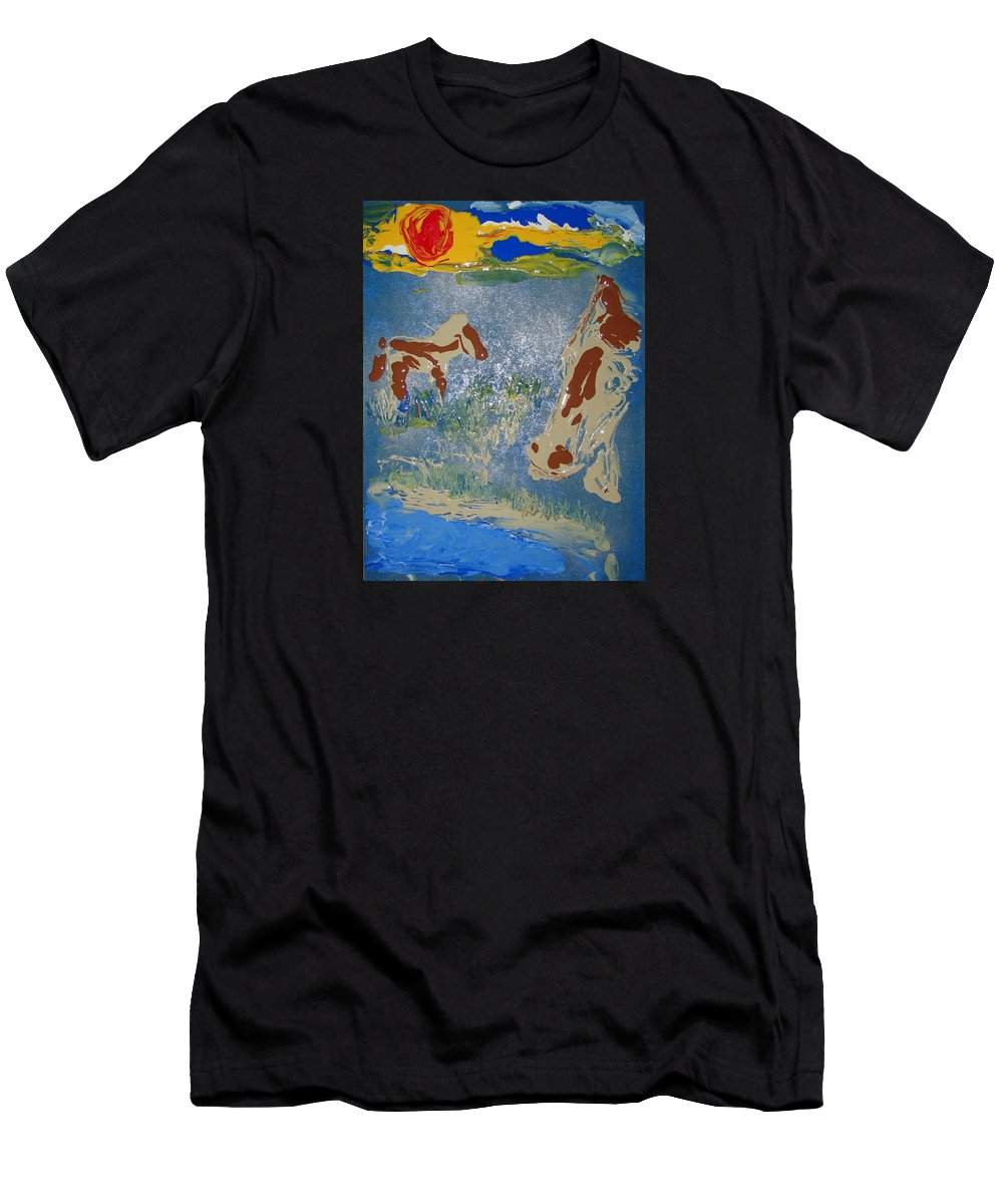 Impressionism Men's T-Shirt (Athletic Fit) featuring the painting Sunset At The Watering Hole by J R Seymour