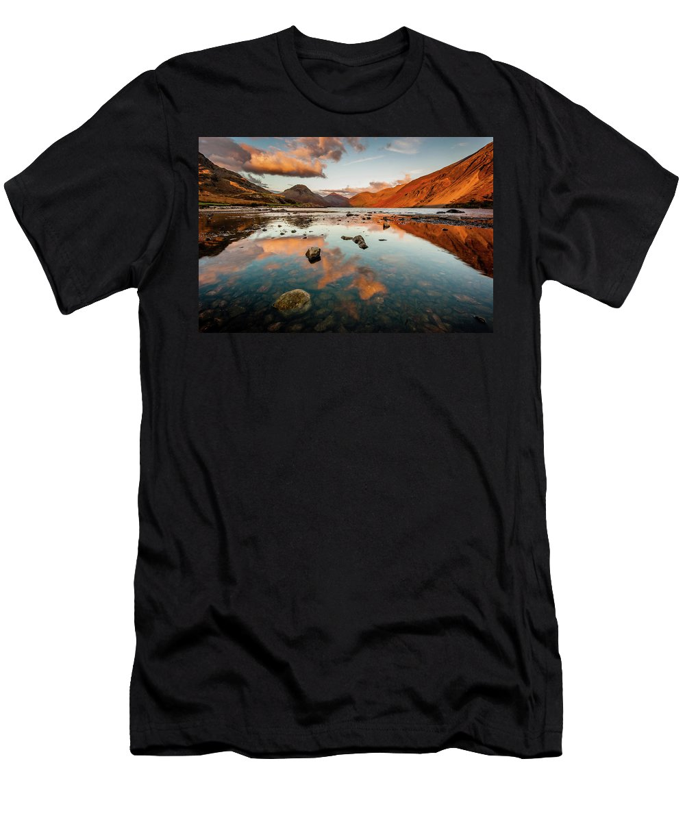 Sunrise T-Shirt featuring the photograph Sunset at Wast Water #2, Wasdale, Lake District, England by Anthony Lawlor