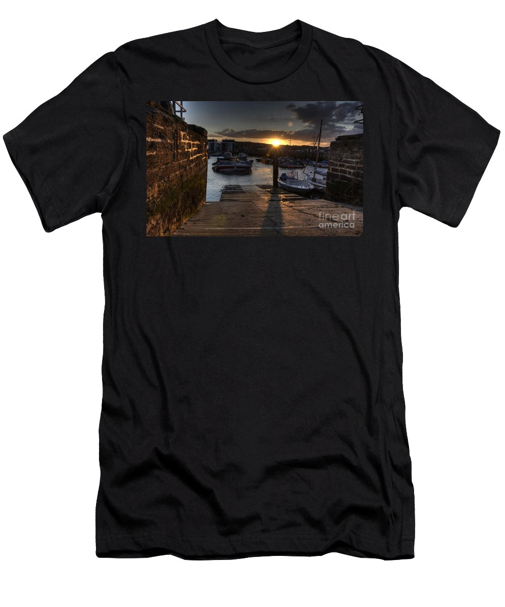 West Men's T-Shirt (Athletic Fit) featuring the photograph Sunset At West Bay Harbour by Rob Hawkins