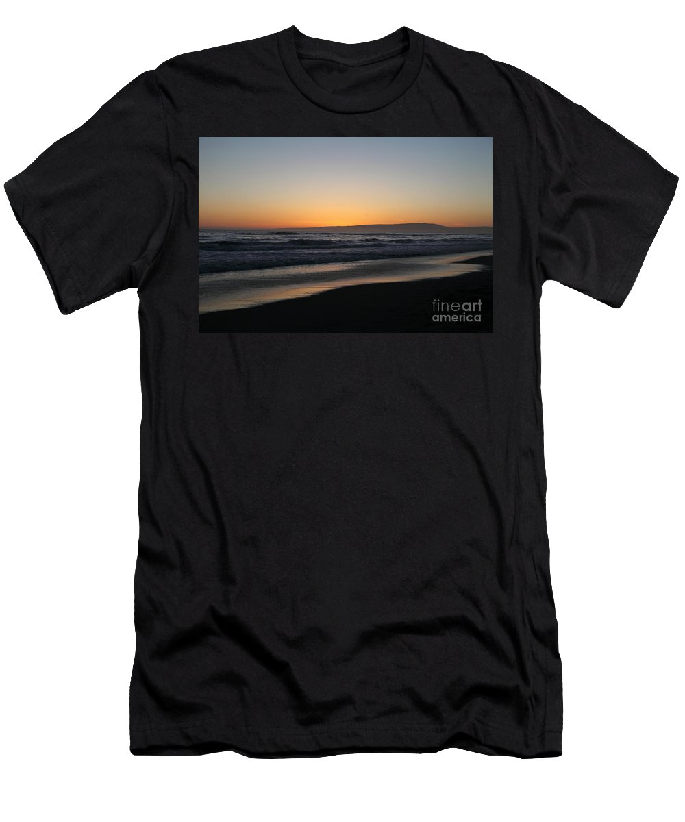 sunset Beach Men's T-Shirt (Athletic Fit) featuring the photograph Sunset Beach California by Amanda Barcon