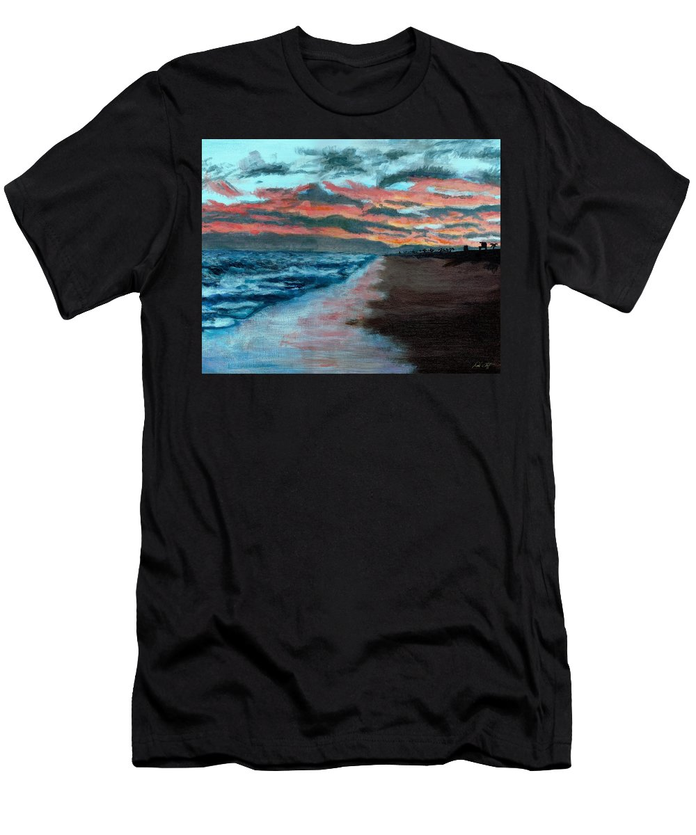 Sunset Painting Men's T-Shirt (Athletic Fit) featuring the painting Sunset Beach by DSC Arts