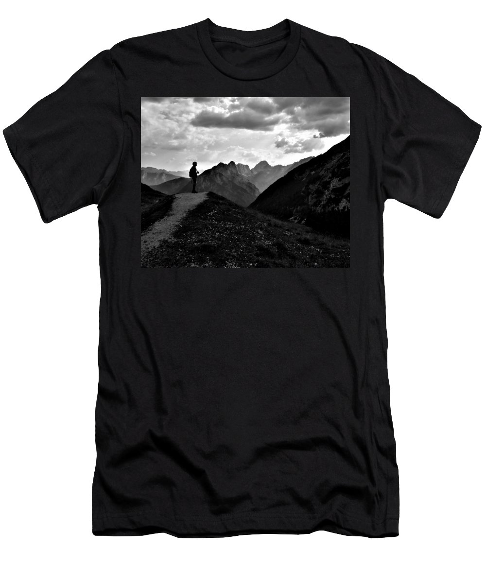 Sunset Men's T-Shirt (Athletic Fit) featuring the photograph Sunset Black And White by Nikola Nemet