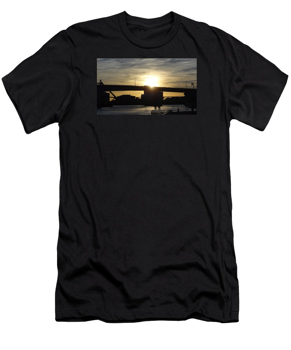 Sunset Men's T-Shirt (Athletic Fit) featuring the photograph Sunset Bridge by Elsie Figuora