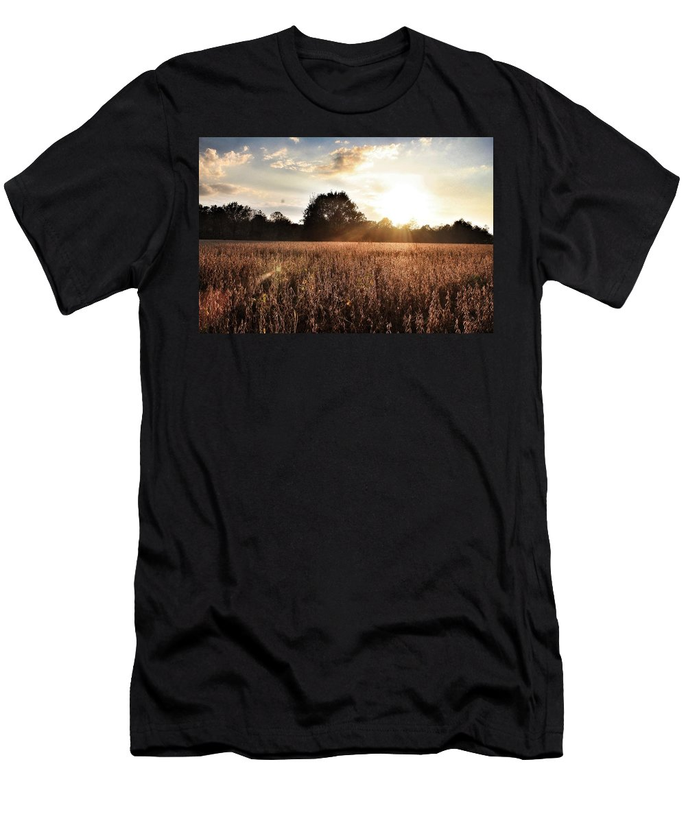 Landscape Men's T-Shirt (Athletic Fit) featuring the photograph Sunset by Cat Asher