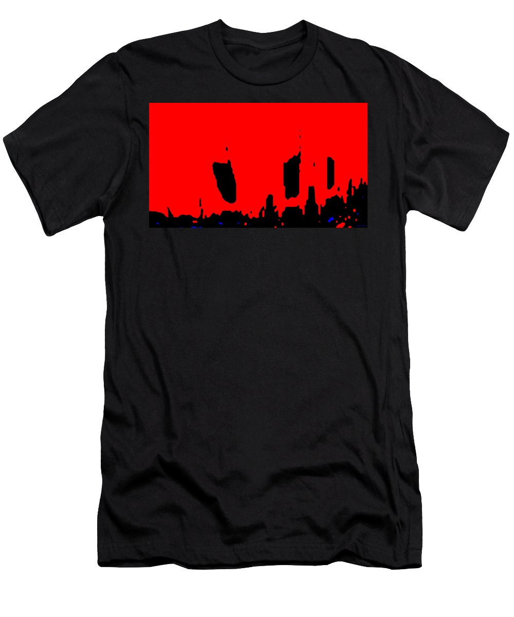 Aupre.com Hypermorphic Arthouse Unique Original Digital Art Made By The Hari Rama Men's T-Shirt (Athletic Fit) featuring the painting Sunset City by The Hari Rama