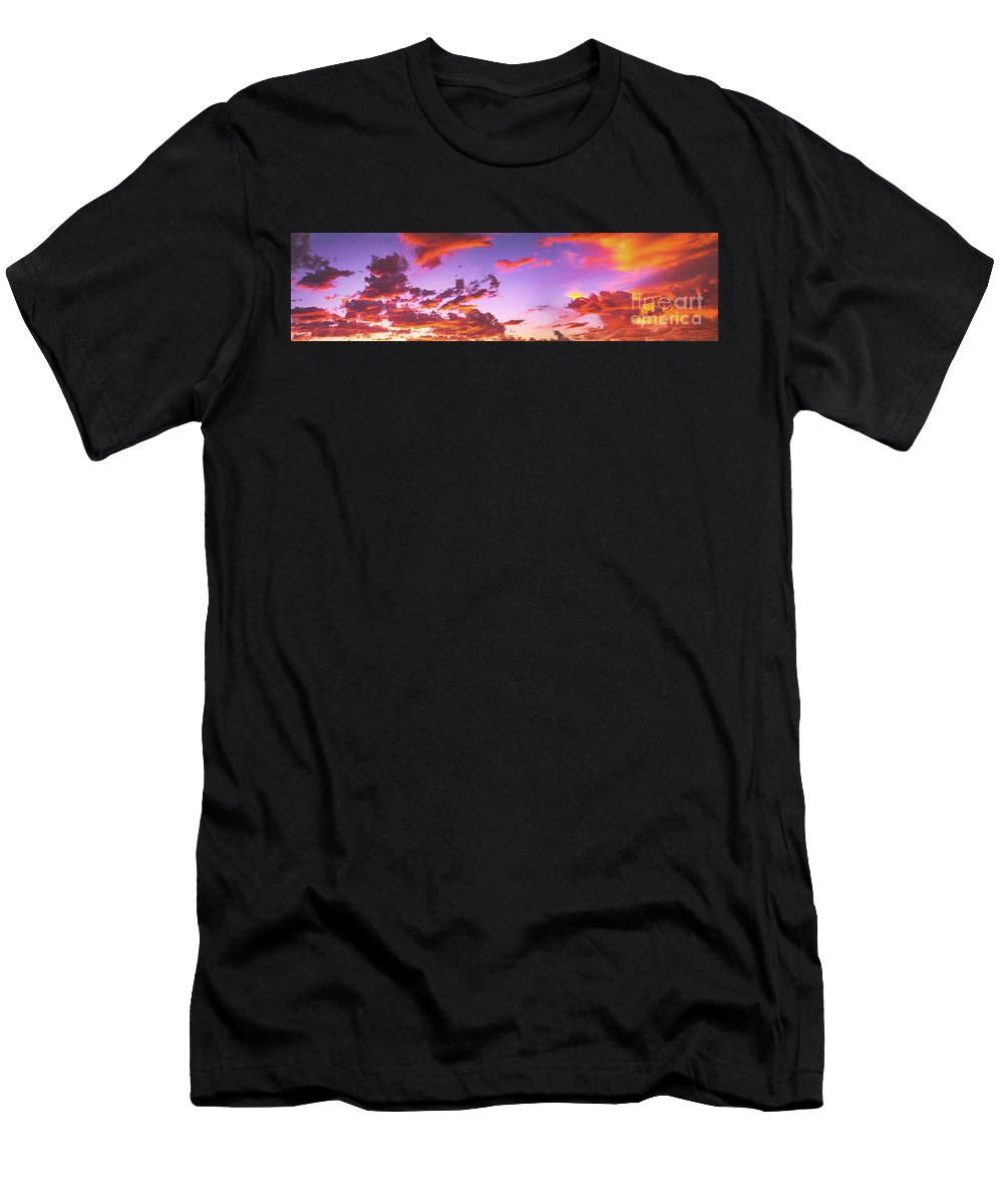 Sunset Men's T-Shirt (Athletic Fit) featuring the photograph Fiery Beautiful Sunset Panorama by David Zanzinger