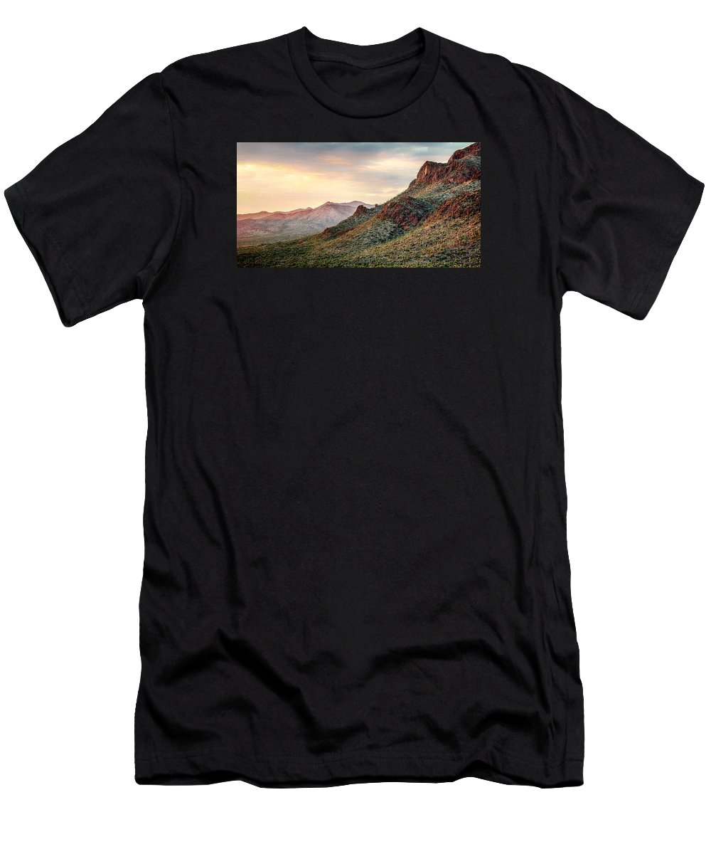 Mountains Men's T-Shirt (Athletic Fit) featuring the photograph Sunset by Elaine Malott