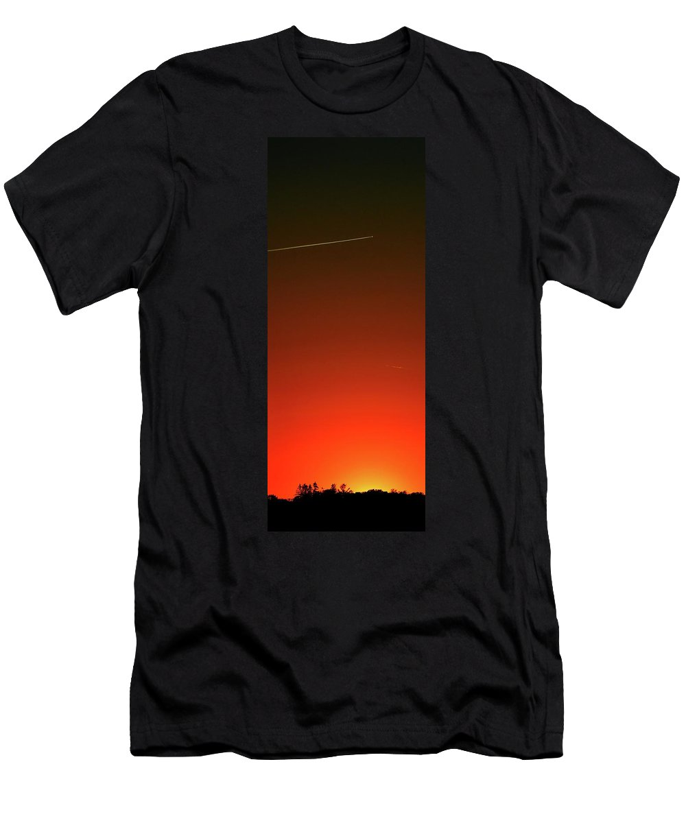 Abstract Men's T-Shirt (Athletic Fit) featuring the digital art Sunset Flight Four by Lyle Crump