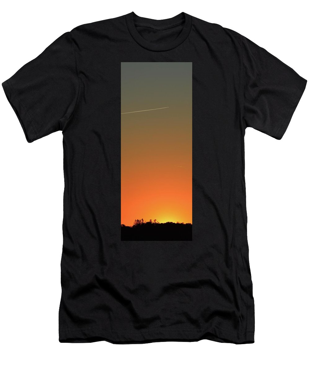 Abstract Men's T-Shirt (Athletic Fit) featuring the digital art Sunset Flight by Lyle Crump