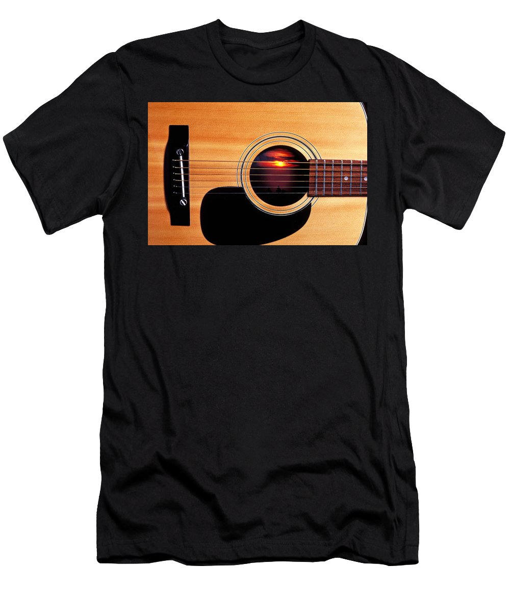 Guitar Men's T-Shirt (Athletic Fit) featuring the photograph Sunset In Guitar by Garry Gay