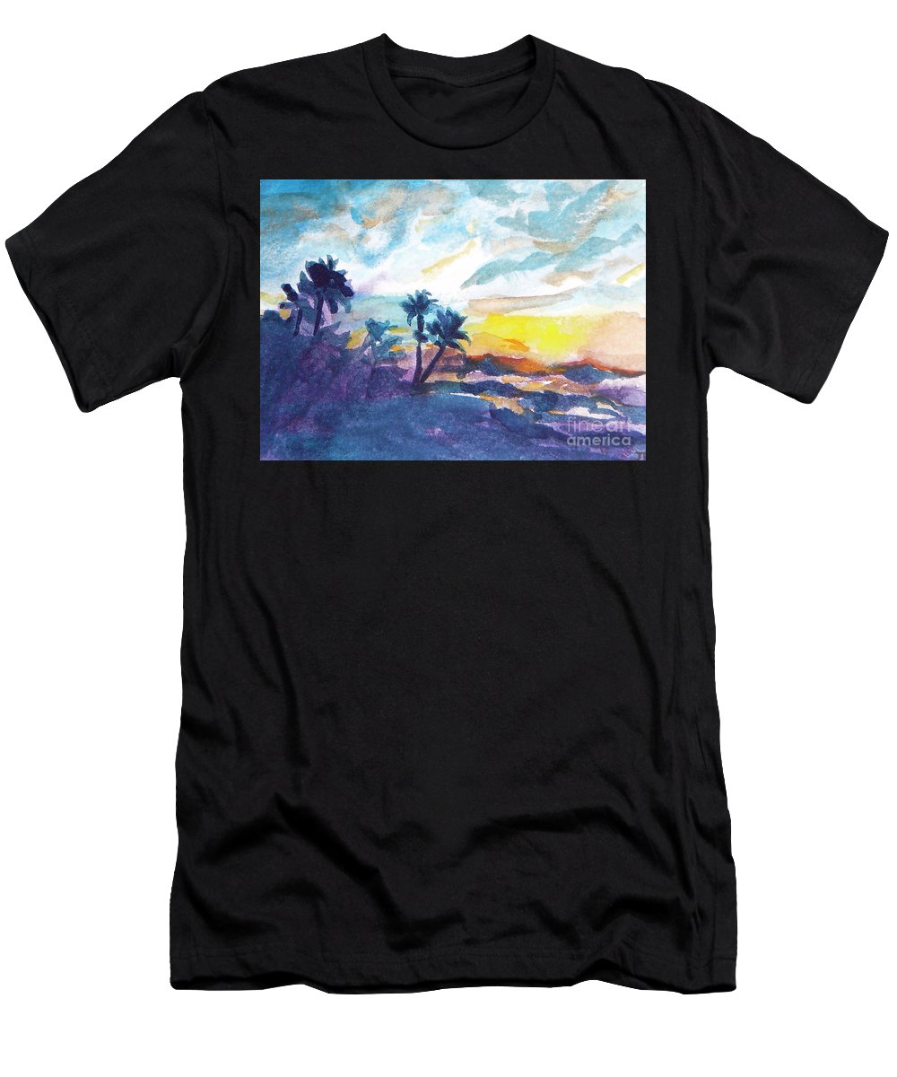 Landscape Men's T-Shirt (Athletic Fit) featuring the painting Sunset In Hawaii by Jan Bennicoff