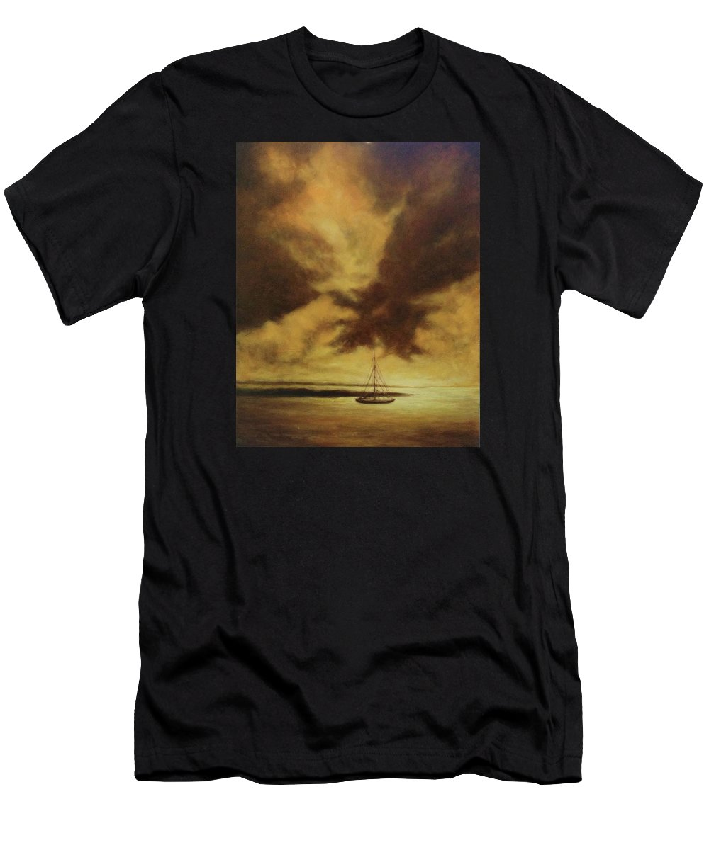 Landscape Men's T-Shirt (Athletic Fit) featuring the painting Sunset In Jamaica by Musa Musa