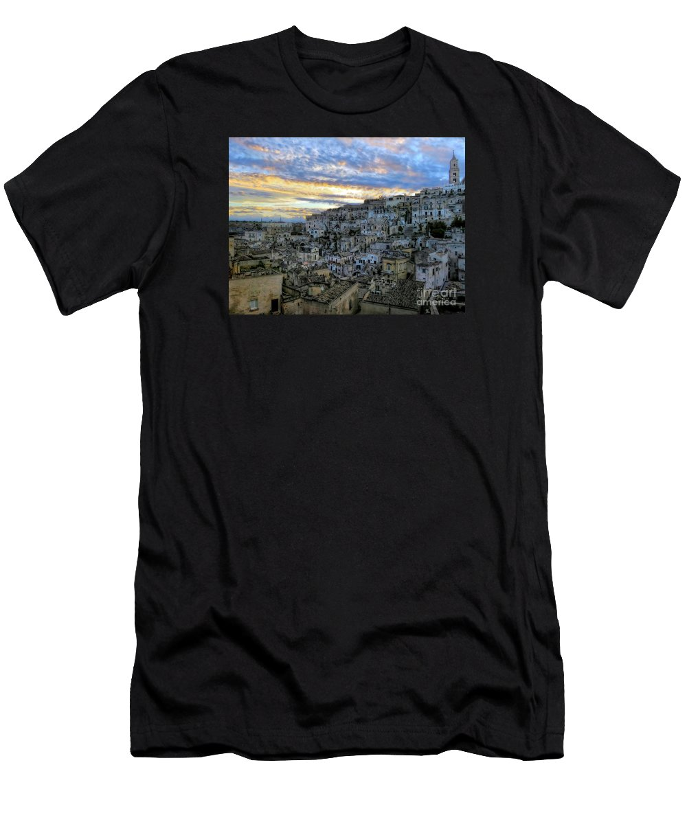 Matera Men's T-Shirt (Athletic Fit) featuring the photograph Sunset In Matera.italy by Jennie Breeze
