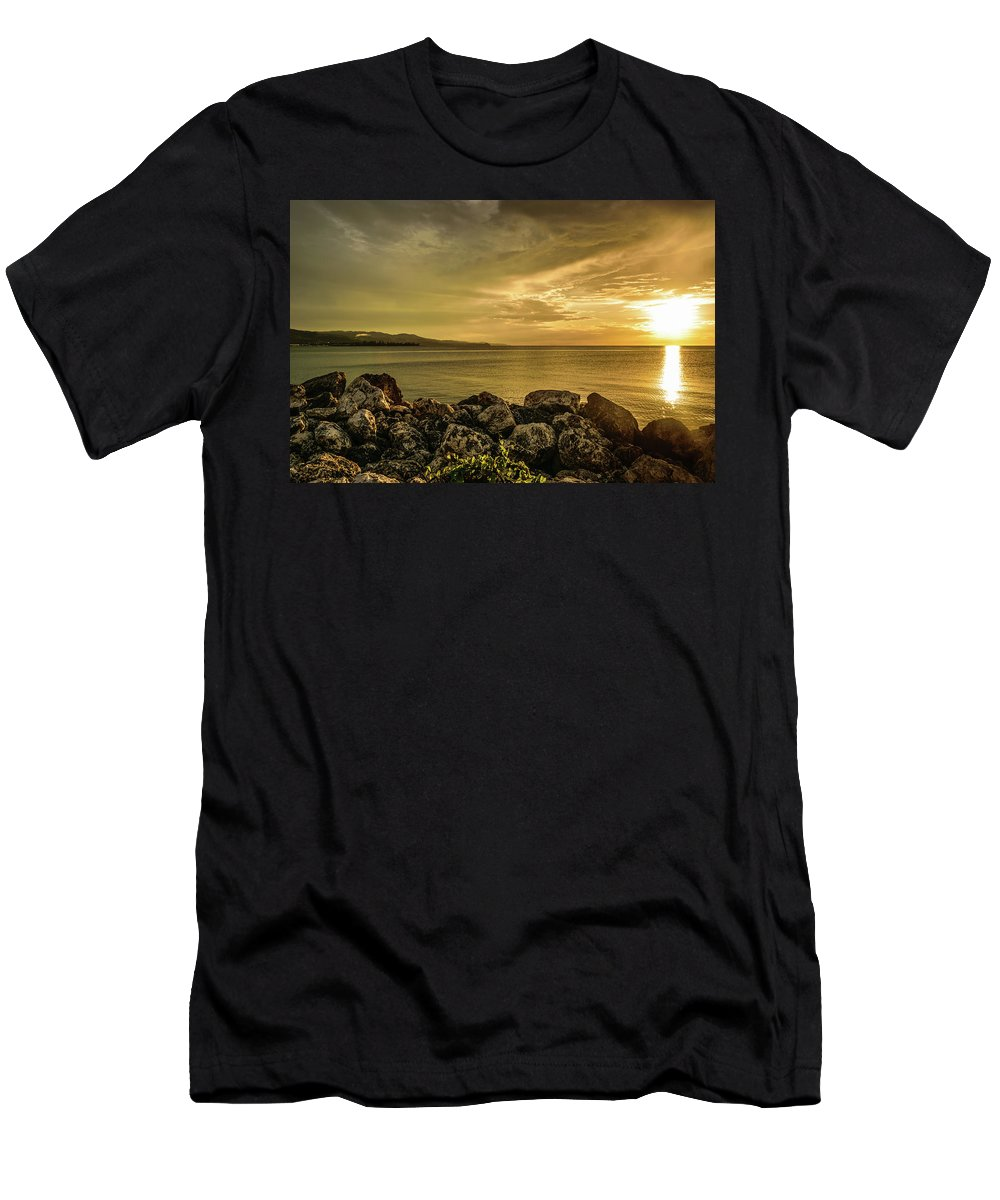 Vacation Destination Men's T-Shirt (Athletic Fit) featuring the photograph Sunset In Montego Bay by Debbie Ann Powell