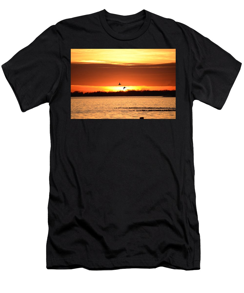 Sunset Men's T-Shirt (Athletic Fit) featuring the photograph Sunset In Orange by Barbara Treaster