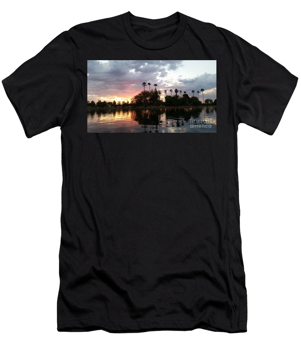 Island Men's T-Shirt (Athletic Fit) featuring the photograph Sunset Island In Chaparral Lake Horizontal by Heather Kirk