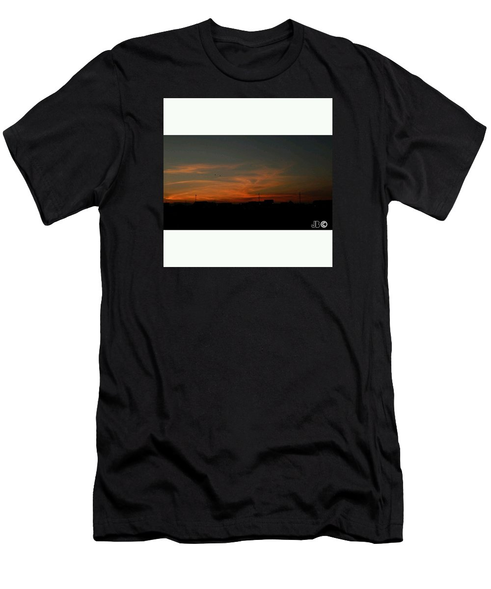 Sunset Men's T-Shirt (Athletic Fit) featuring the pyrography Sunset by Joneta Bytyqi