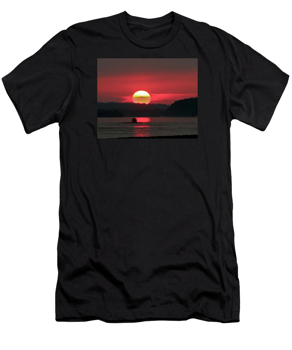 Mississippi River Men's T-Shirt (Athletic Fit) featuring the photograph Sunset by Kimberli Green