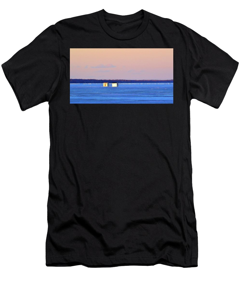 Abstract Men's T-Shirt (Athletic Fit) featuring the digital art Sunset Light On The Ice Fishing Huts 2 by Lyle Crump