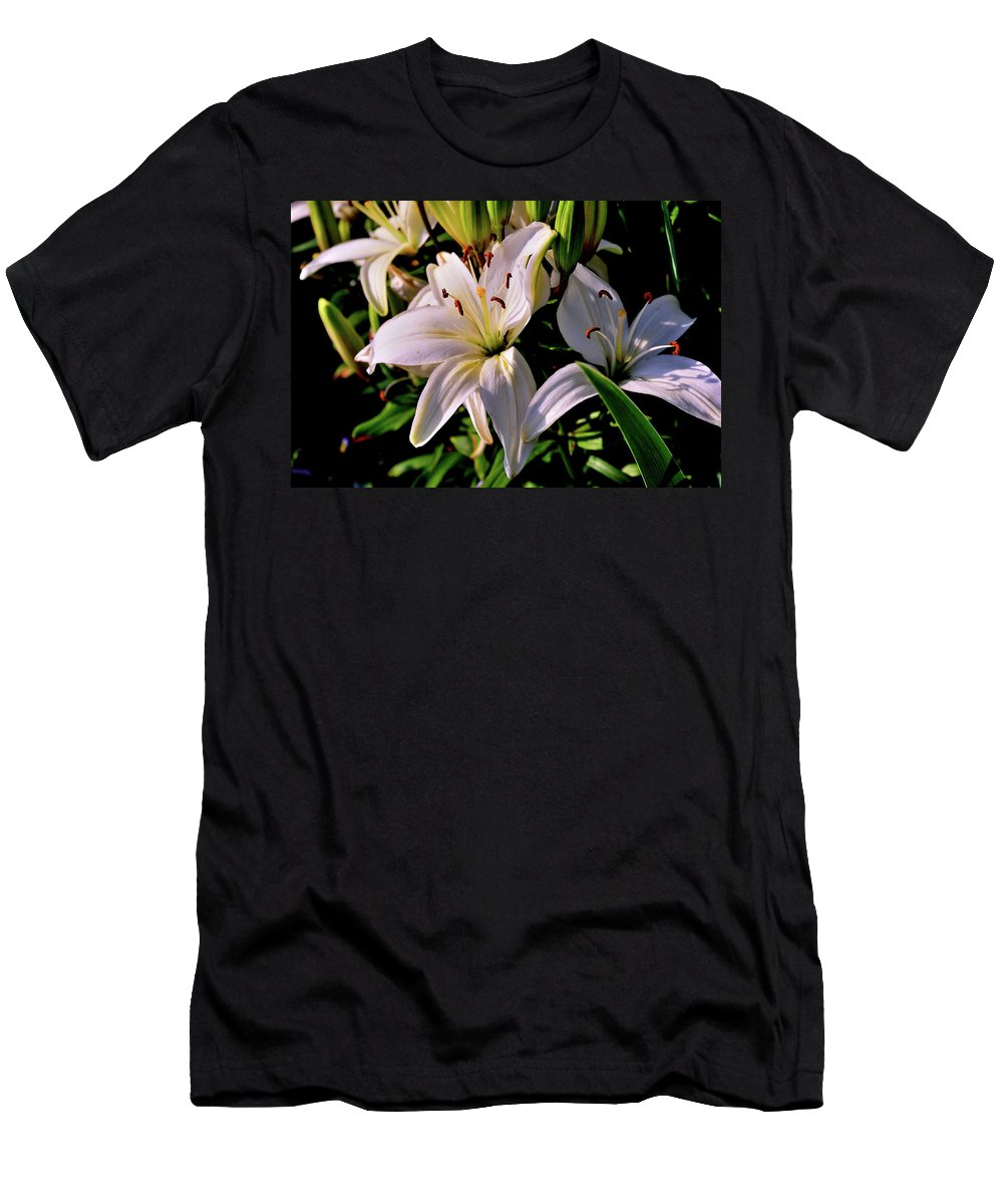 Floral Men's T-Shirt (Athletic Fit) featuring the photograph Sunset Lilies by John Jaspers
