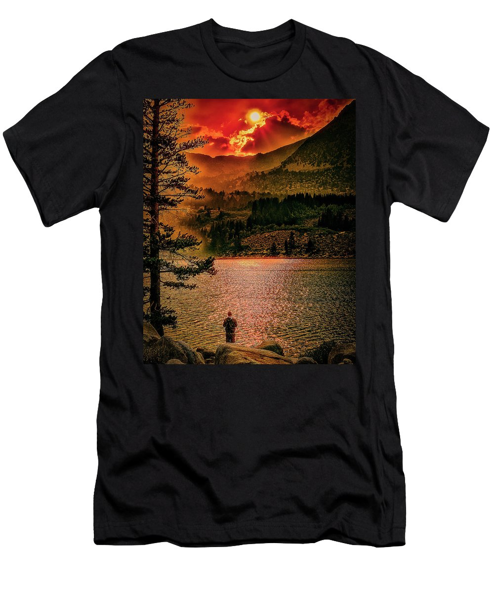 Sunset Men's T-Shirt (Athletic Fit) featuring the photograph Sunset On Fire by Hugh Mobley
