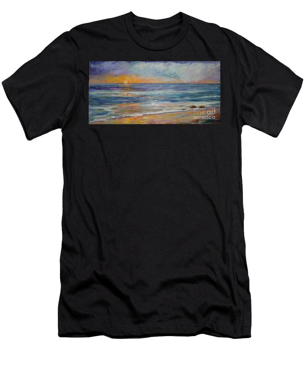 Sunset On The Beach Men's T-Shirt (Athletic Fit) featuring the painting Sunset On The Beach by Lisa McKnett