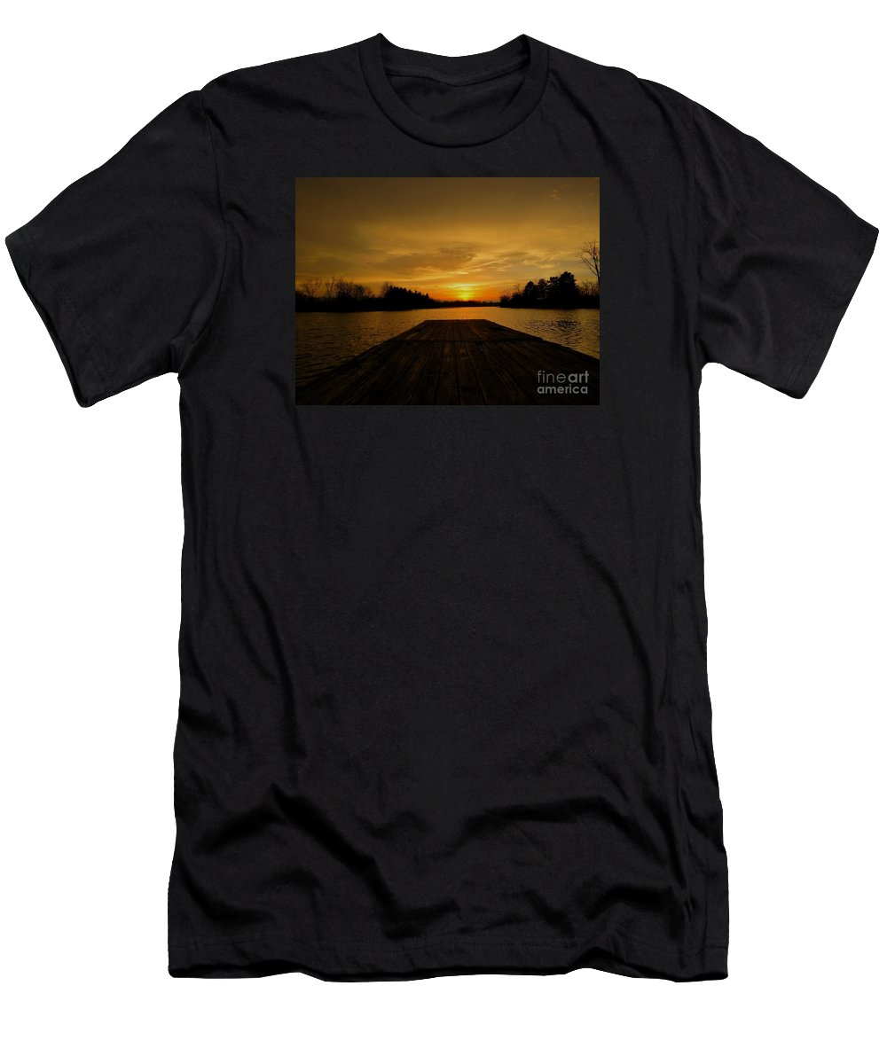 Sunset Men's T-Shirt (Athletic Fit) featuring the photograph Sunset On The Dock by William Caine