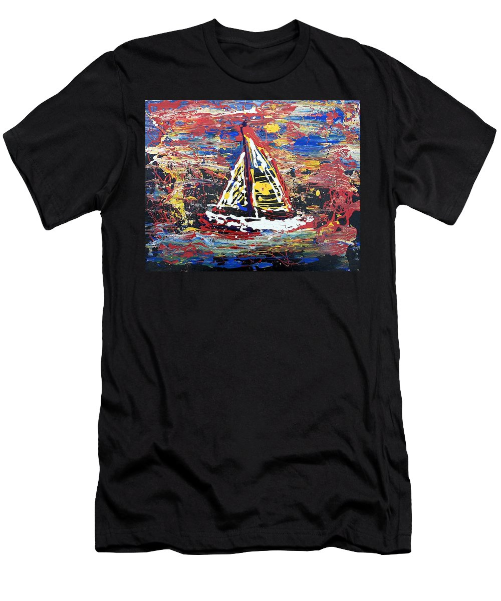 Sailboat Men's T-Shirt (Athletic Fit) featuring the painting Sunset On The Lake by J R Seymour