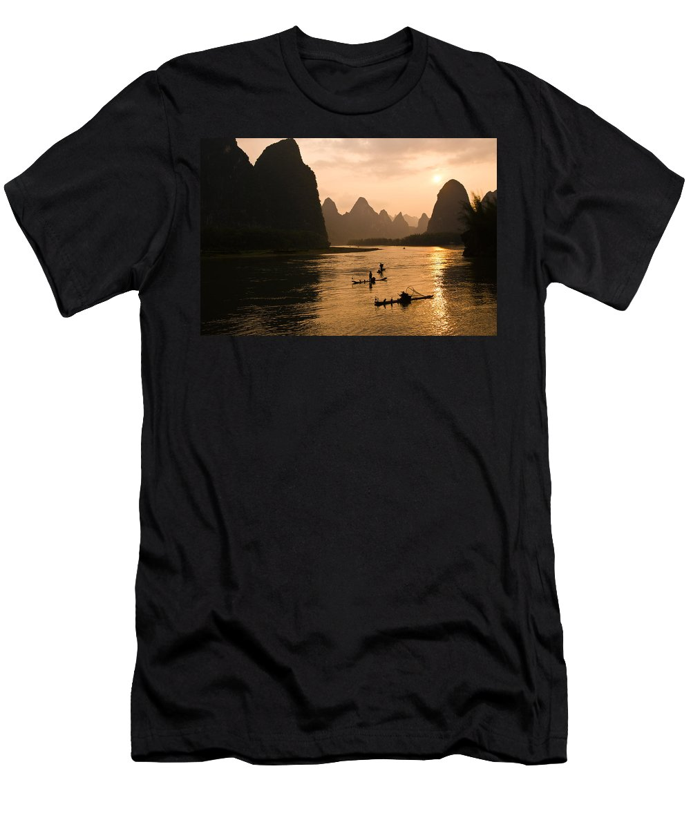 Asia T-Shirt featuring the photograph Sunset on the Li River by Michele Burgess