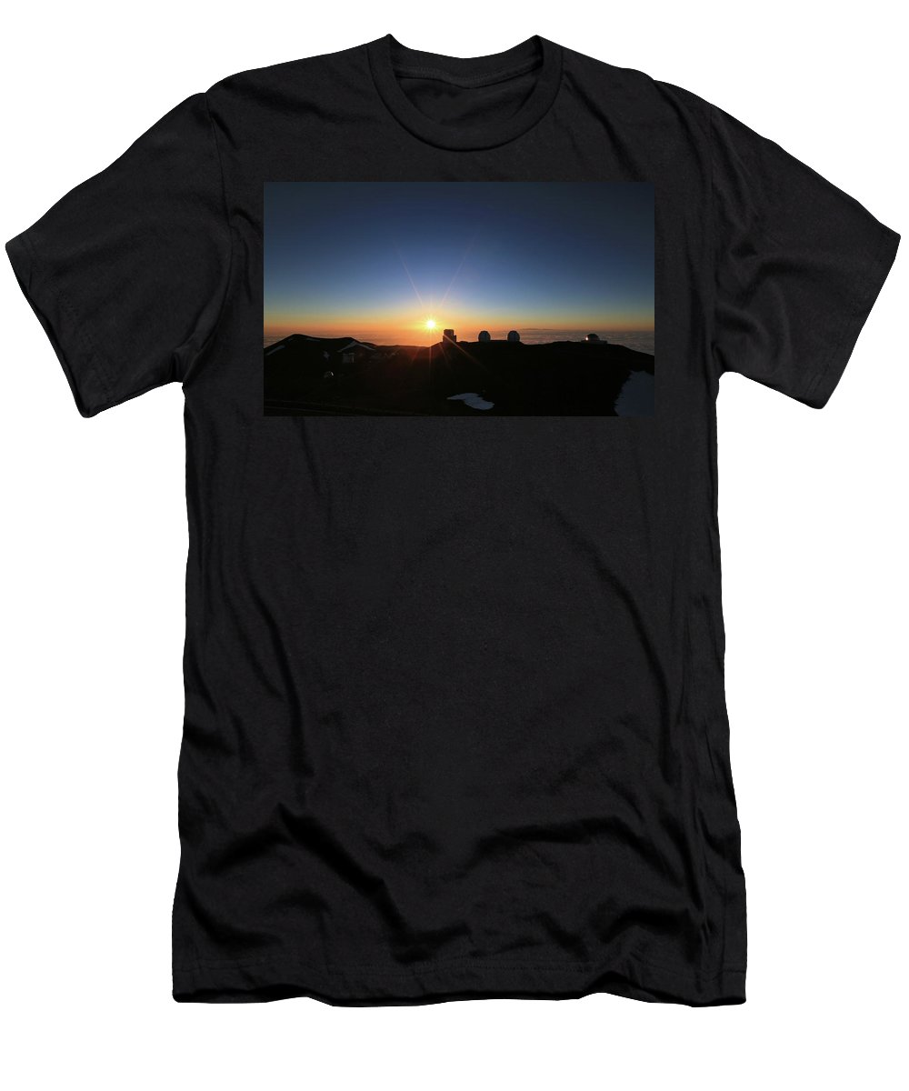 Photosbymch Men's T-Shirt (Athletic Fit) featuring the photograph Sunset On The Mauna Kea Observatories by M C Hood