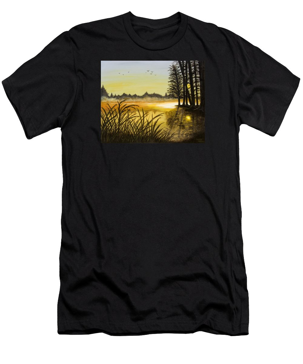 Landscape Men's T-Shirt (Athletic Fit) featuring the painting Sunset On The Water by Christie Nicklay