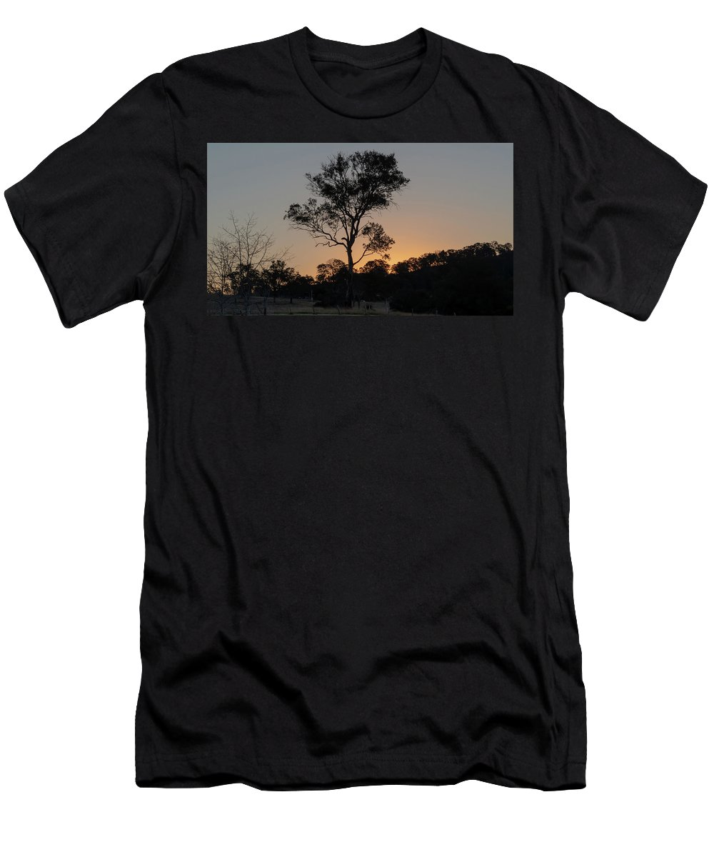 Acreage Men's T-Shirt (Athletic Fit) featuring the photograph Sunset - Out In The Country by Merrillie Redden
