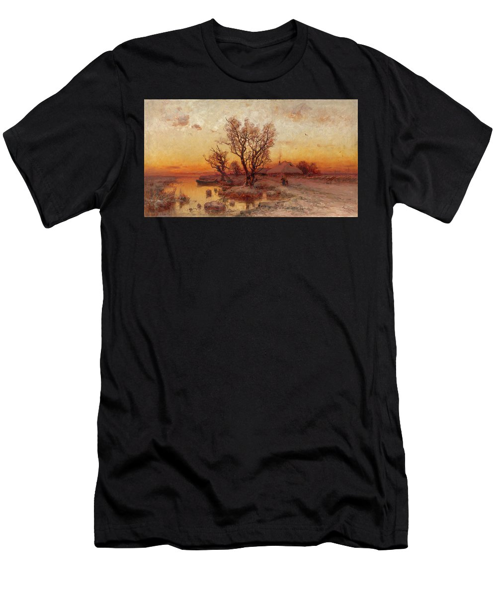 Klever Men's T-Shirt (Athletic Fit) featuring the painting Sunset Over A Ukrainian Hamlet by MotionAge Designs