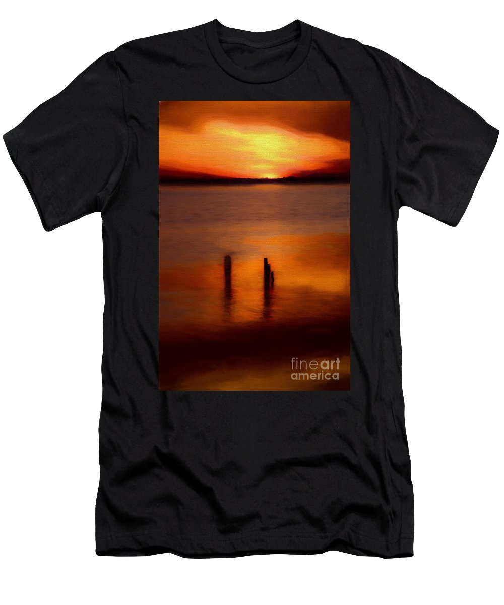North Carolina Men's T-Shirt (Athletic Fit) featuring the painting Sunset Over Currituck Sound Ap by Dan Carmichael