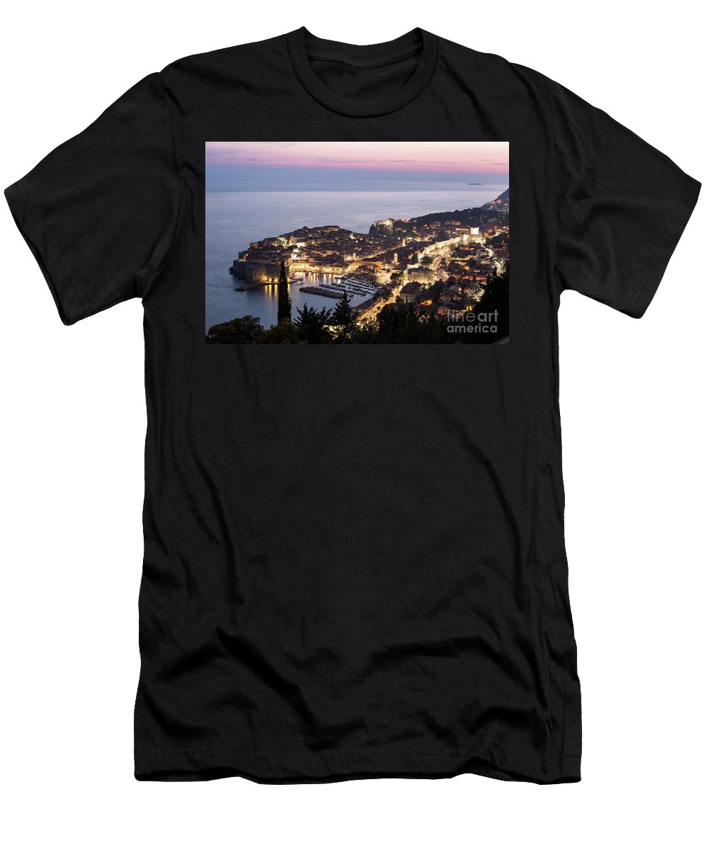 Balkans Men's T-Shirt (Athletic Fit) featuring the photograph Sunset Over Dubrovnik In Croatia by Didier Marti