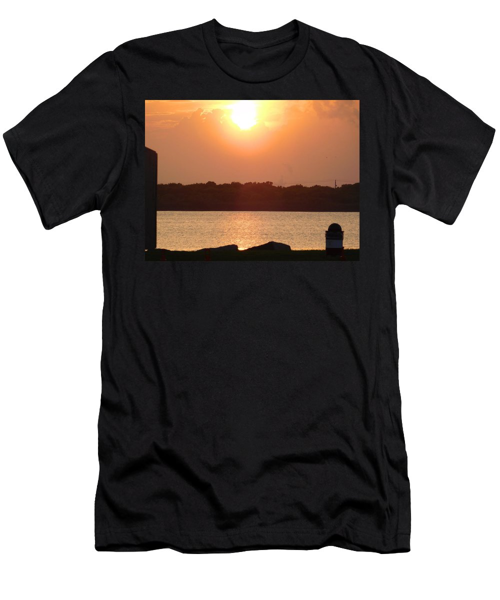 Sunset Men's T-Shirt (Athletic Fit) featuring the photograph Sunset Over Galveston Bay by Carol Cooper
