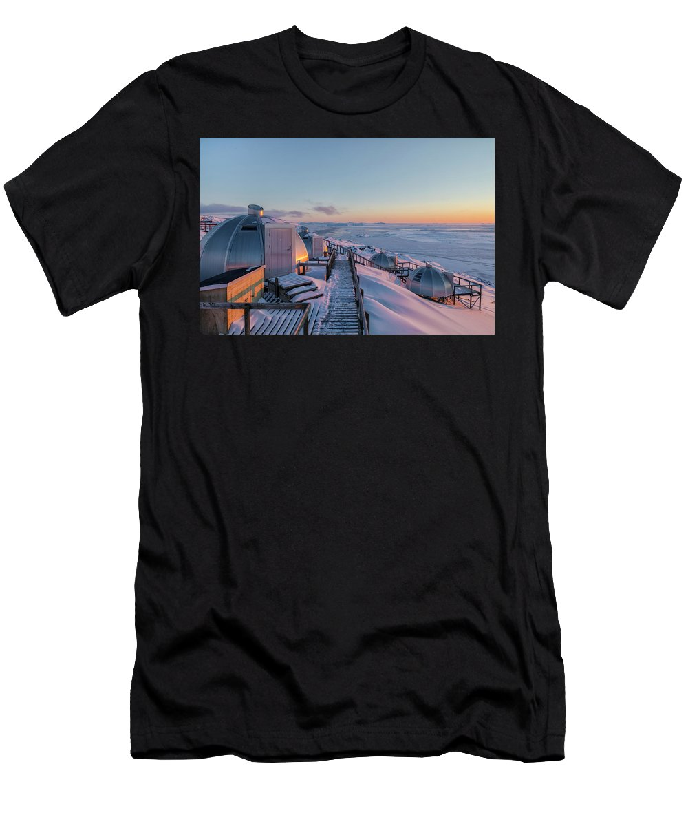 Ilulissat Men's T-Shirt (Athletic Fit) featuring the photograph sunset over Igloos - Greenland by Joana Kruse