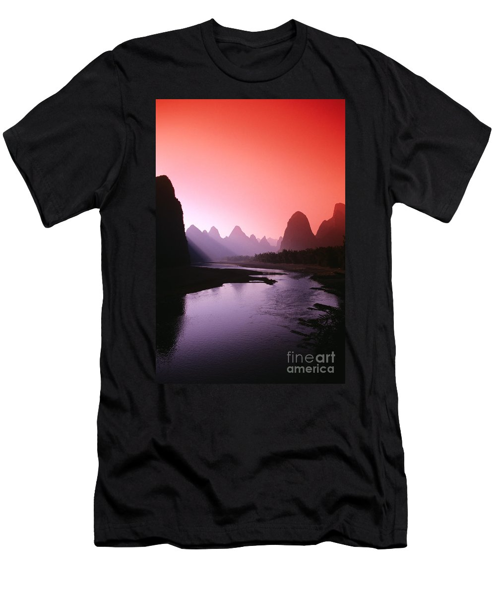 Asian Art Men's T-Shirt (Athletic Fit) featuring the photograph Sunset Over Li River by Gloria & Richard Maschmeyer - Printscapes