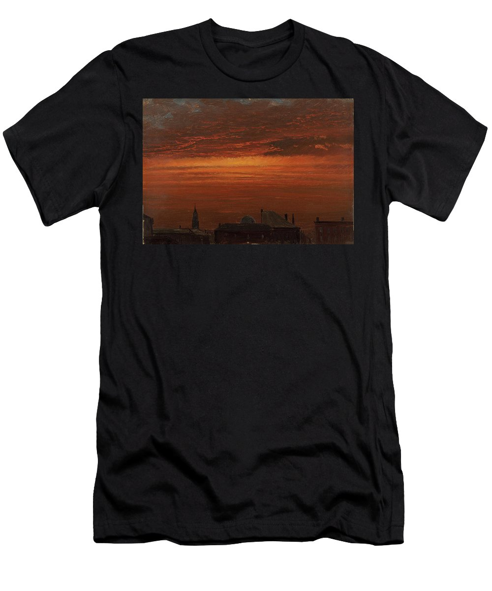 Frederic Church Men's T-Shirt (Athletic Fit) featuring the painting Sunset Over New York by MotionAge Designs