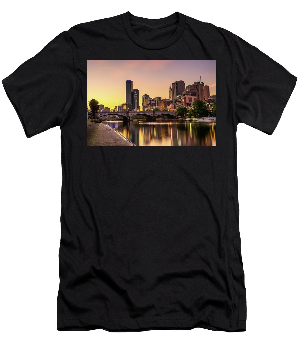 Australia Men's T-Shirt (Athletic Fit) featuring the photograph Sunset Over Skyscrapers Of Melbourne Downtown And Princes Bridge by Miroslav Liska