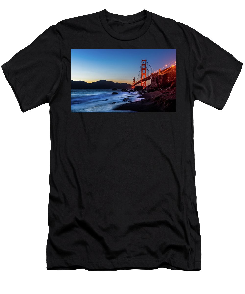 Sfo Men's T-Shirt (Athletic Fit) featuring the photograph Sunset Over The Golden Gate Bridge by Julien ORRE