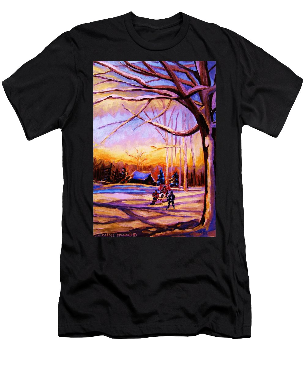 Sunset Over Hockey Men's T-Shirt (Athletic Fit) featuring the painting Sunset Over The Hockey Game by Carole Spandau