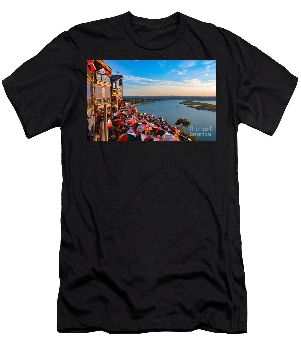Sunset Prints Men's T-Shirt (Athletic Fit) featuring the photograph Sunset Overlook On Lake Travis by Kathy Yeung