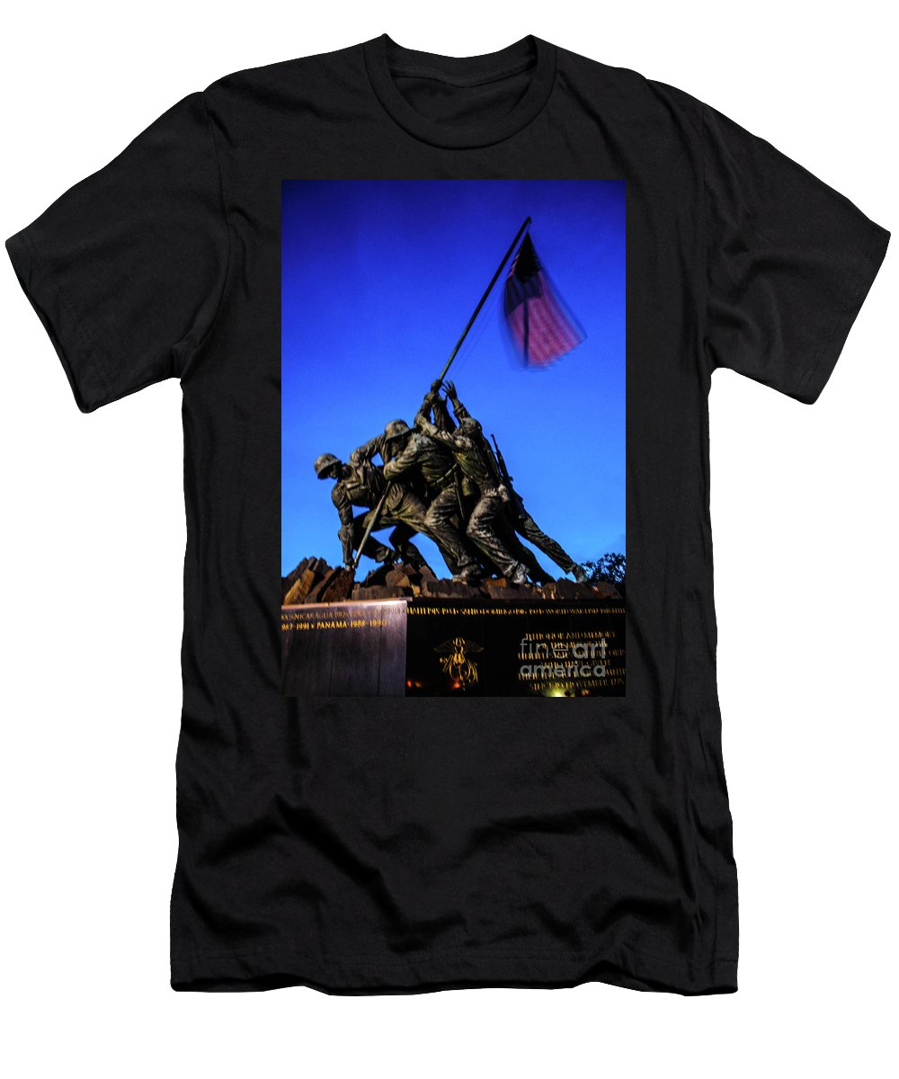 This Is A Sunset Photo Of The Iwo Jima Monument At Arlington Virginia. Men's T-Shirt (Athletic Fit) featuring the photograph Sunset Photo At The Iwo Jima Monument by William Rogers