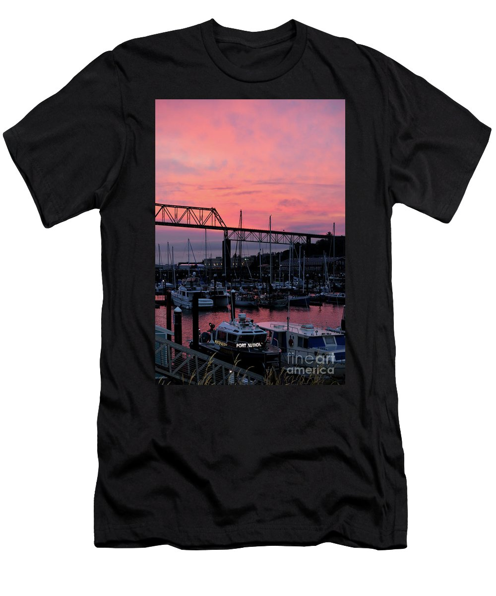 Denise Bruchman Men's T-Shirt (Athletic Fit) featuring the photograph Sunset Port by Denise Bruchman