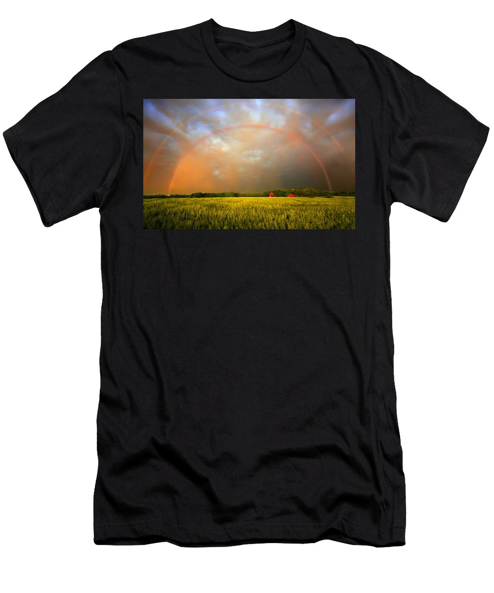 Rainbow Men's T-Shirt (Athletic Fit) featuring the photograph Sunset Rainbow by Vicki France