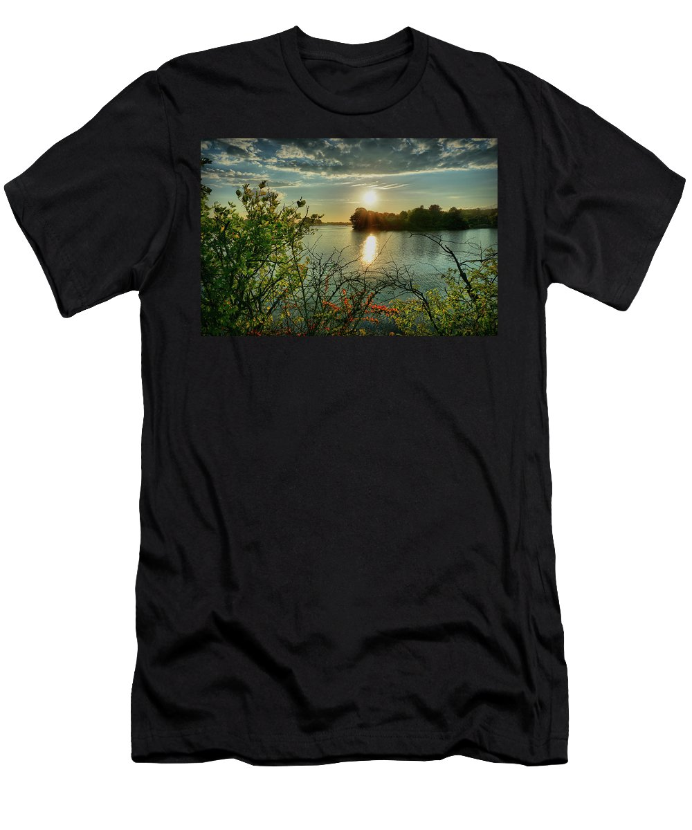 Sunset Men's T-Shirt (Athletic Fit) featuring the digital art Sunset Reflection by Lilia D