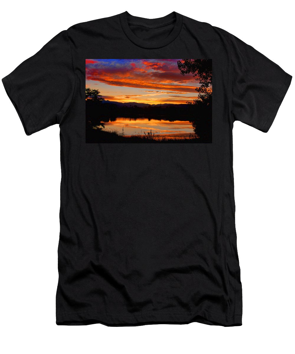 Red Men's T-Shirt (Athletic Fit) featuring the photograph Sunset Reflections by James BO Insogna