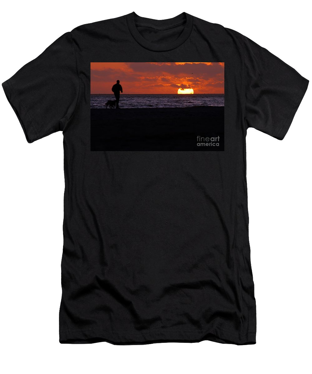 Clay Men's T-Shirt (Athletic Fit) featuring the photograph Sunset Run by Clayton Bruster